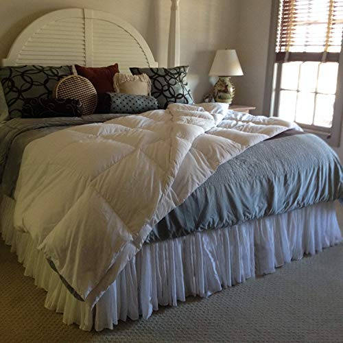 Custom White Voile Fuller Ruffle Bed Skirt any size - detachable option