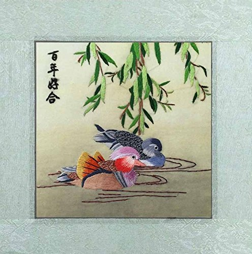 SpecialArt Silk Art Unframed  Handmade China Suzhou Silk Embroidery 12X12 Inch, Mandarin Ducks Playing in the Water Painting Couple Anniversary Present for Lover SilkArt017 (No (Chinese Mandarin Duck)