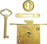 Brass Plated Full Mortise Chest Lid Lock Set + Antique Vintage Old Furniture Restoration Hardware + Free Bonus (Skeleton Key Badge) M-1823