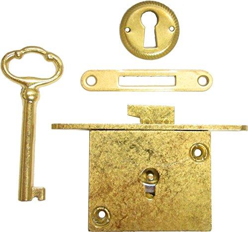 Brass Plated Full Mortise Chest Lid Lock Set + Antique Vintage Old Furniture Restoration Hardware + Free Bonus (Skeleton Key Badge) (Antique Mortise Locks)
