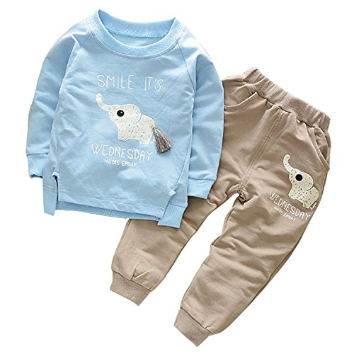 Ancia 2017 Baby Boys Kids 2 Pieces Clothes Set T-Shirt Pants Outfits(Elephant Blue,1-2 Years)