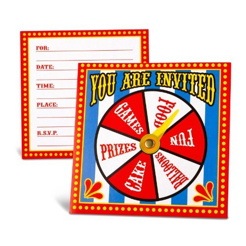 Fun Express Carnival Spinner Invitations Party Accessory, 12 (Carnival Themed 1st Birthday)