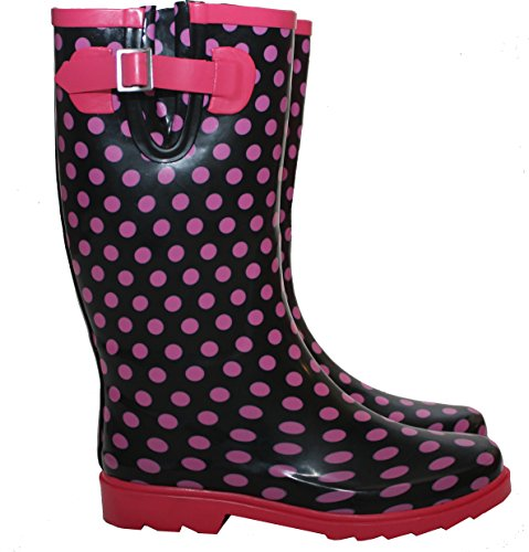 New Womens Ladies Extra Wide Calf Polka Dots Snow Rain Mud Festival Waterproof Wellington Boots Wellies Sizes UK 3-8 (UK 6, Black/Pink Spots)