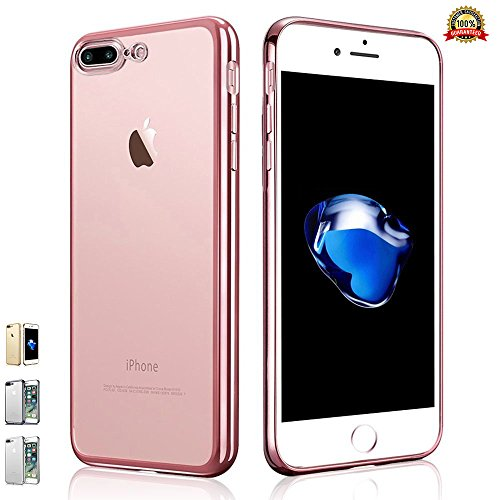 iPhone 7 Plus Soft Bumper Case [Free Tempered Glass Screen Protector], Electroplate Frame Transparent [Crystal Clear] Back Hybrid TPU Silicone Gel [Exact Fit] Edge to Edge - Rose Gold