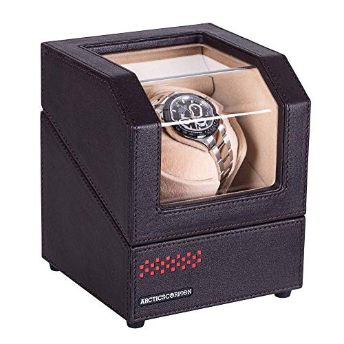 Automatic Single Watch Winder for Rolex, in Wood Shell and Black Coffee Color Leather, with 4 Rotation Mode Setting, Adjustable Watch Pillow for Men's and Lady's Automatic Watches (Automatic Watch Ladies Leather)