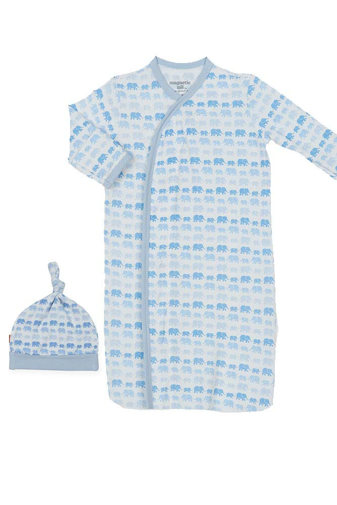 Magnificent Baby Baby Infant Magnetic Gown Set, Dancing Elephants Blue, NB-3M by Magnificent Baby