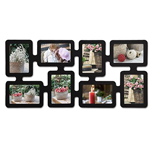 Homebeez Black Wood Wall Collage Picture Frame (Black 8 Opening) (Best Way To Memorise Something)