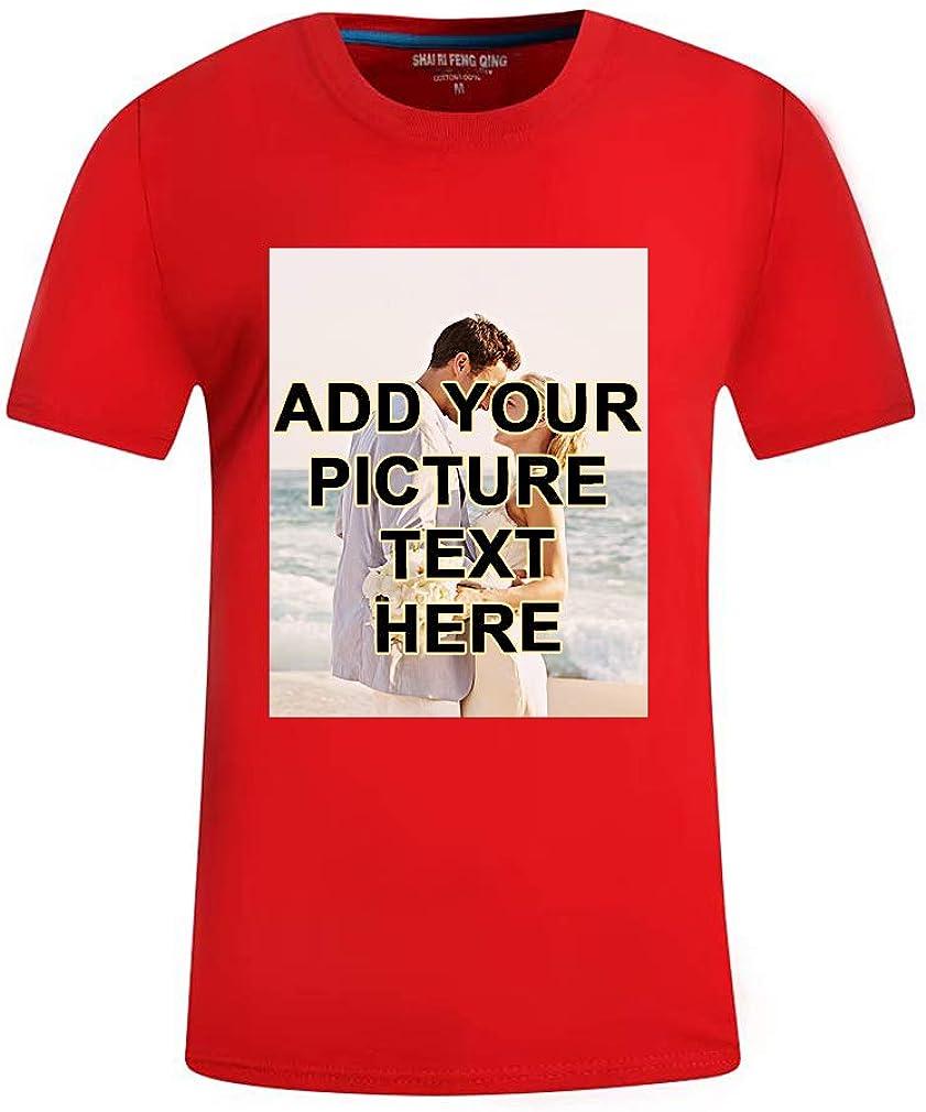 Custom4U Camiseta con Fotografía Personalizada T-Shirt 100% Algodón para Hombres y Mujeres Tallas S/M/L/XL/XXL/XXXL Múltiples Opciones de Colores