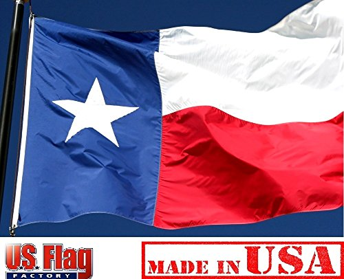 Solarmax Nylon State Flag - US Flag Factory - Texas State Flag (Appliqued Star & Sewn Stripes) Outdoor SolarMax Nylon - Premium Quality - Made in America (6x10 FT)