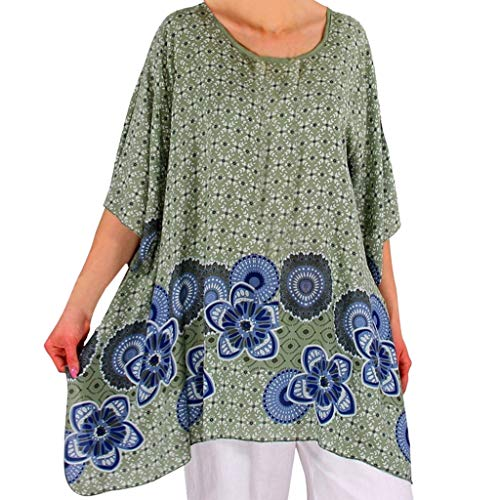 - ADREAML Women Short Sleeves Tunic Shirts Casual Scoop Neck Floral Irregular Hem Blouses Tops