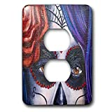 3dRose Melissa A. Torres Art Dia de los Muertos - Image of the eyes of a woman with Day of the Dead makeup - Light Switch Covers - 2 plug outlet cover (lsp_287449_6)