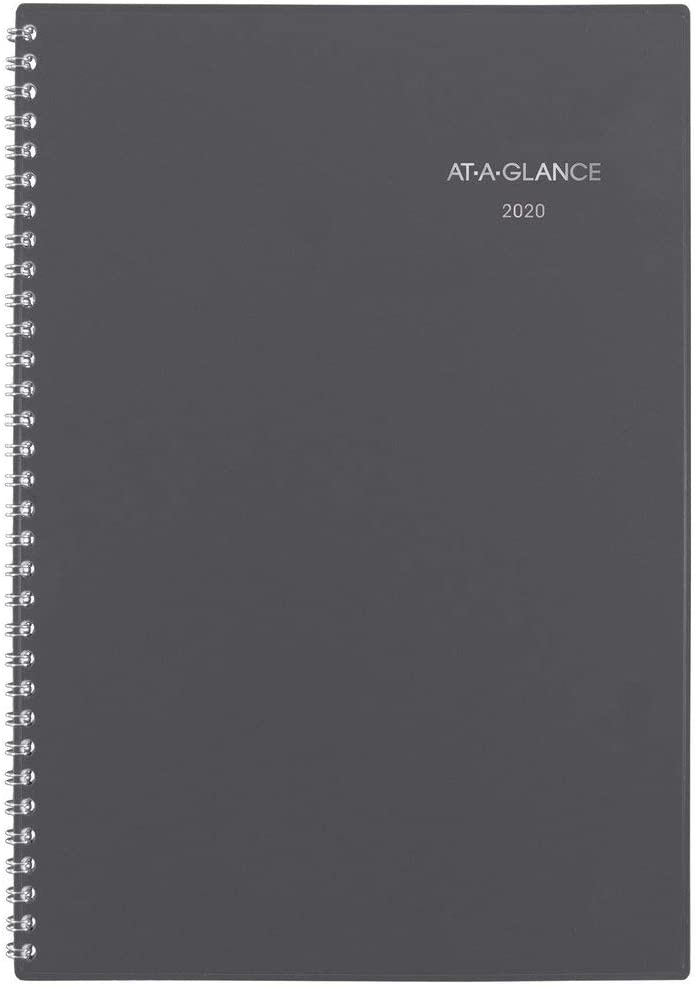 """AT-A-GLANCE 2020 Weekly & Monthly Planner, DayMinder, 5-1/2"""" x 8-1/2"""", Small, Wirebound, Gray (GC20007)"""
