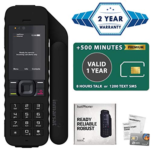 2019 Unlocked IsatPhone 2.1 Satellite Phone with 500 Minute Prepaid SIM Card Valid 1 Year - Voice, SMS, GPS Tracking, Emergency SOS Global Coverage - Water ()