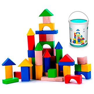 Superbe Cubbie Lee 50 Pc Classic Wooden Building Blocks Set W/ Storage Bucket U2013 For  3