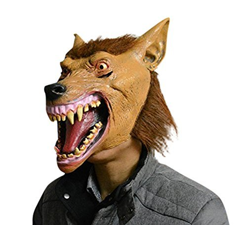 FUNNY LATEX WEREWOLF WOLF MASK HORROR HALLOWEEN SCARY FANCY DRESS COSTUME ADULT by Harrington (Werewolf Latex Mask)