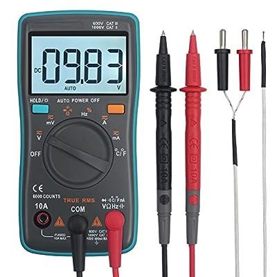 Digital Multimeter Autoranging ESYNIC Trms 6000 Counts Pocket Digital Multimeters Amp Ohm Volt Meter Multi Tester with Capacitance Tester Backlight for AC/DC Voltage Diode Current Resistance Test