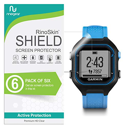 RinoGear for Garmin Forerunner 25 Screen Protector [6-Pack] Full Coverage Flexible HD Crystal Clear Anti-Bubble Unlimited Replacement Film
