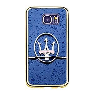 Personal Maserati Logo Phone Case TPU Golden Border Soft Protector for Samsung Galaxy S6 with Maserati Logo