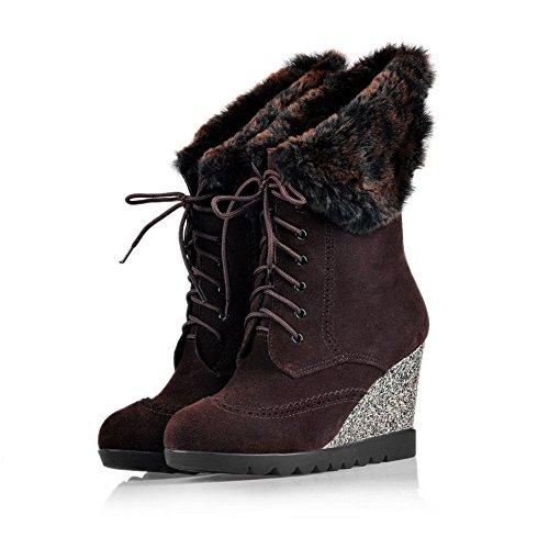 AmoonyFashion Womens Round Toe High Heels Boots With Platform and Slipping Sole Coffee YKBOnJJI7G