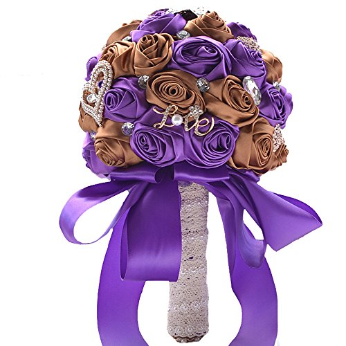 (Mangadua Silk Roses Bride Bridal Bouquet Bridesmaid Wedding Bouquet Wedding Flowers with Artificial Crystal Pearl Diamond (purple+brown))