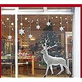 Lovely White Christmas Deer Wall Sticker for Window Home Decor 60x90cm
