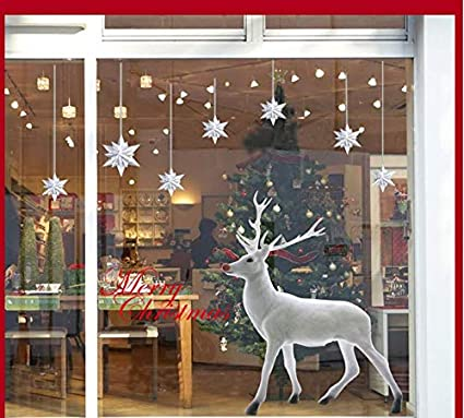 Admirable Lovely White Christmas Deer Wall Sticker For Window Home Decor 60X90Cm Download Free Architecture Designs Scobabritishbridgeorg