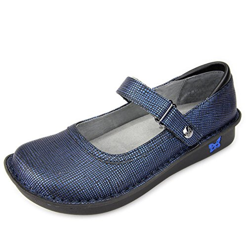 Alegria Women's Belle Mary Jane Flat Grid Blue sale finishline clearance release dates discount outlet RAWhJeSSQ