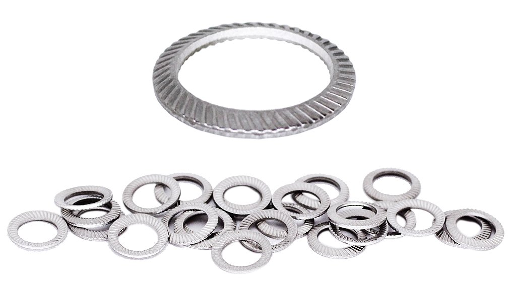 (100pcs) M6 Stainless SCHNORR Brand Ribbed Safety Spring Lock Washer Metric, BelMetric WSH6SS-X
