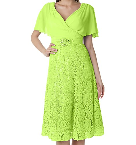 V Gruen Lemon Damen Ausschnitt Abendkleider Spitze Charmant Knielang Festlichkleider Brautmutterkleider Kurzarm Partykleider 4OaBqCw