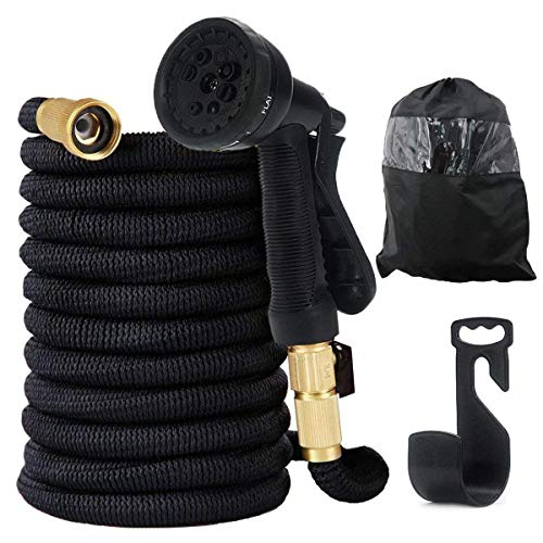 Holder Pattern - EXSPORT 50 Feet Garden Hose with Double Latex Core, 3/4 Solid Brass Connector Lightweight & Flexible - 8 Pattern Function Watering Nozzle Gardening Spray, Garden Hose Holder Storage Bag Included