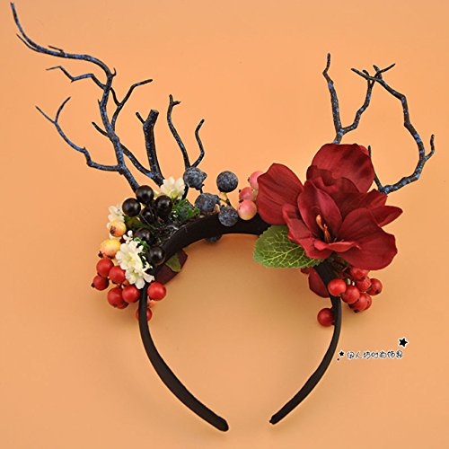 Sen photo branches big flowers headband Christmas antlers hair accessories annual meeting funny stagestyle catwalk headband A