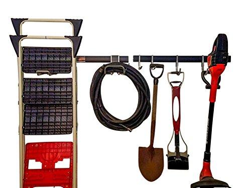 "GarageMate GM411 Garage Starter Kit Rail System - Includes 2 - 32"" Track Rails, 2 Large J hooks, 2 Large L hooks and Installation Kit with Fasteners (Starter Kit - 2 Tracks 4 Hooks) from GarageMate"