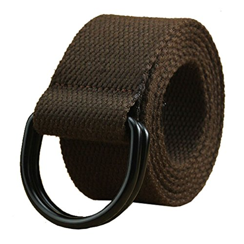(Canvas Web Belt Military Coffee Brown with Black Metal Tip Double D Ring Buckle 46