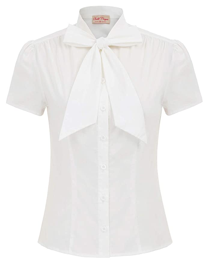 1930s Style Blouses, Shirts, Tops | Vintage Blouses Belle Poque Summer Short Sleeve Office Button Down Blouse Stripe Shirt Tops with Bow Tie BP573 $23.99 AT vintagedancer.com