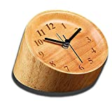 Wood Alarm Clock, JUSTUP Gradient Cylindrical Wooden Desk Clock Bedside Silent Travel Clock Battery Powered Multi-angle Observation Eco-friendly and Exquisite for Office Home Tr (Gradient Cylindrica)