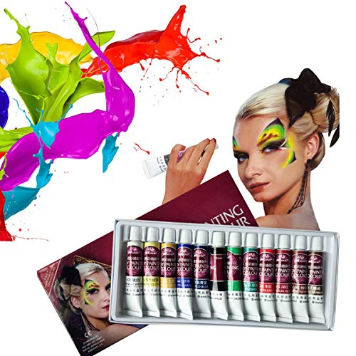 DFUNNY Face Paint Kit,12 Colors Professional Face Painting, Non-Toxic Body Paint Halloween Makeup, Rich Pigment, Face Painting Kits for Kids Art for Party Halloween Body Decorate ()