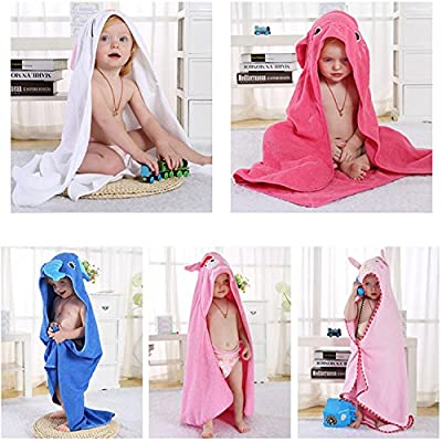 Baby Hooded Towel, Chickwin 100% Natural Cotton Wrap Soft Washcloth for Baby Shower Bath