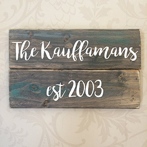 Personalized Family Name Rustic Wooden Sign 8X4 Brown or Gray