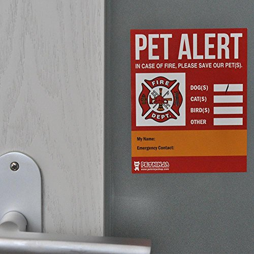 2 PET SAFETY ALERT Static Cling Window Decal for Save Pets Rescue Sticker  Dog