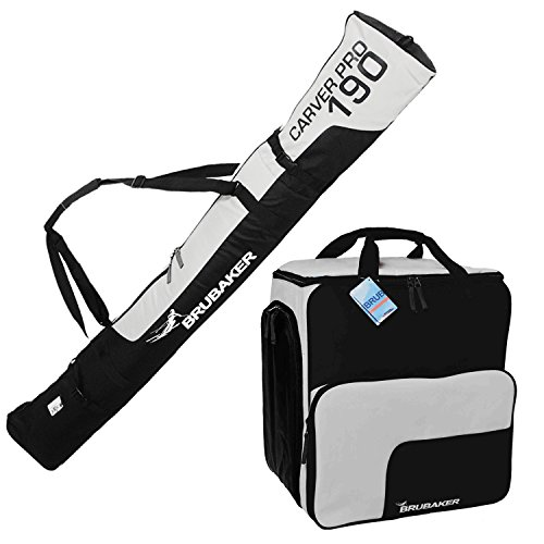 BRUBAKER ''Superfunction'' Combo Ski Boot Bag and Ski Bag for 1 Pair of Ski up to 190 cm, Poles, Boots and Helmet - Black Silver by BRUBAKER
