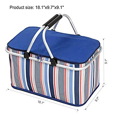 32L Large Family Size Picnic Insulated Bag, Oumers BBQ Meat Drinks Cooler Bag Ultra-size Folding Collapsible Basket for Holidays Parties Outdoor Travel , Picnic, Grill - Blue