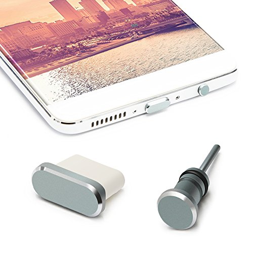 Type C Anti Dust Plug Set, iMangoo Type C Pluggy & 3.5mm Earphone Pluggy Protect USB-C Port + Headphone Jack for Samsung Galaxy Note 8 S8 LG G5 Nexus 6P 5X Pixel with Case for Easy Storage Grey