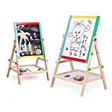 Drawing Easel Board,ZJchao Kids Bedroom Free Standing 2 in 1 Black / White Double Sided Wooden Easel Chalk Drawing Board Children Learning Board