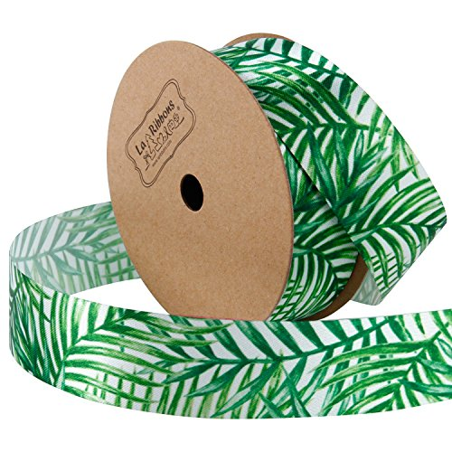 (LaRibbons 25mm Wide Satin Cutout Edge Fabric-9 Meter/Spool (Palm Leaf) Summer Printed Ribbons Palm Leaf Palm Leaf )