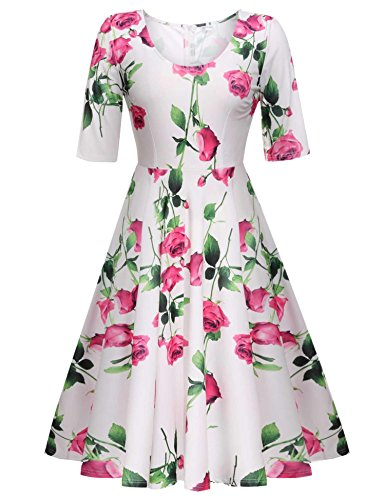 ELESOL Women's Classy Audrey Hepburn 1950s Vintage Rockabilly Swing Dress,Rose Red/S