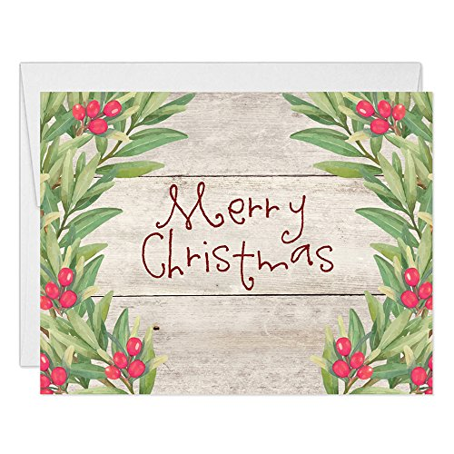 (Farmhouse Merry Christmas Cards Box (Set of 50) Country Rustic Wood Holly Berry Wreath Folded Holiday Greeting Seasonal Notecards Pack & Envelopes Blank Inside Excellent Value by Digibuddha VH0008)