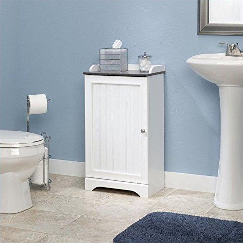 Sauder Caraway Floor Cabinet in soft white (White Bathroom Cabinet)