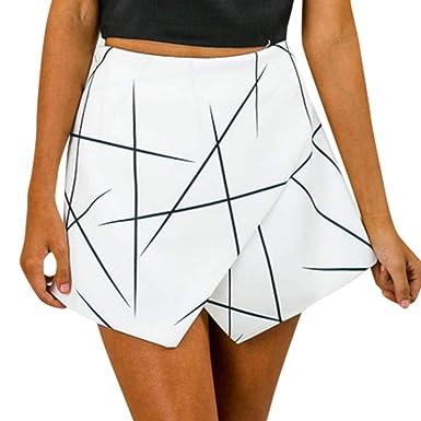 Lenfesh Falda Irregular Corta Mujer Cintura Alta Atractivo Mini ...