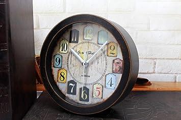 ZCLD Reloj de sobremesa Creativo, pequeño, Moderno, de Madera Maciza, de Estilo Americano, Color de Madera Negro: Amazon.es: Hogar
