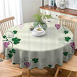 HouseLook Nature Washable Dust-Proof Table Cover Grape Vines Framework Fruit Garden Curvy Branches Leaves Vintage Illustration Table for Holiday & Thanksgiving 43 Inch Round Pink Purple Green
